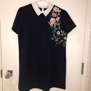 Zara dress with embroidered flowers